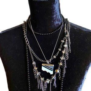Genuine Onyx Striped Geode Stone Necklace